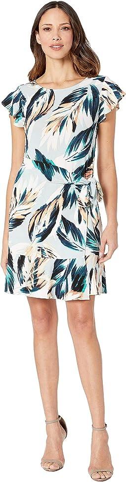Flutter Sleeve Floral Printed Faux Wrap Dress