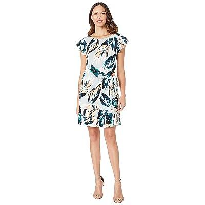 eci Flutter Sleeve Floral Printed Faux Wrap Dress (Grey) Women