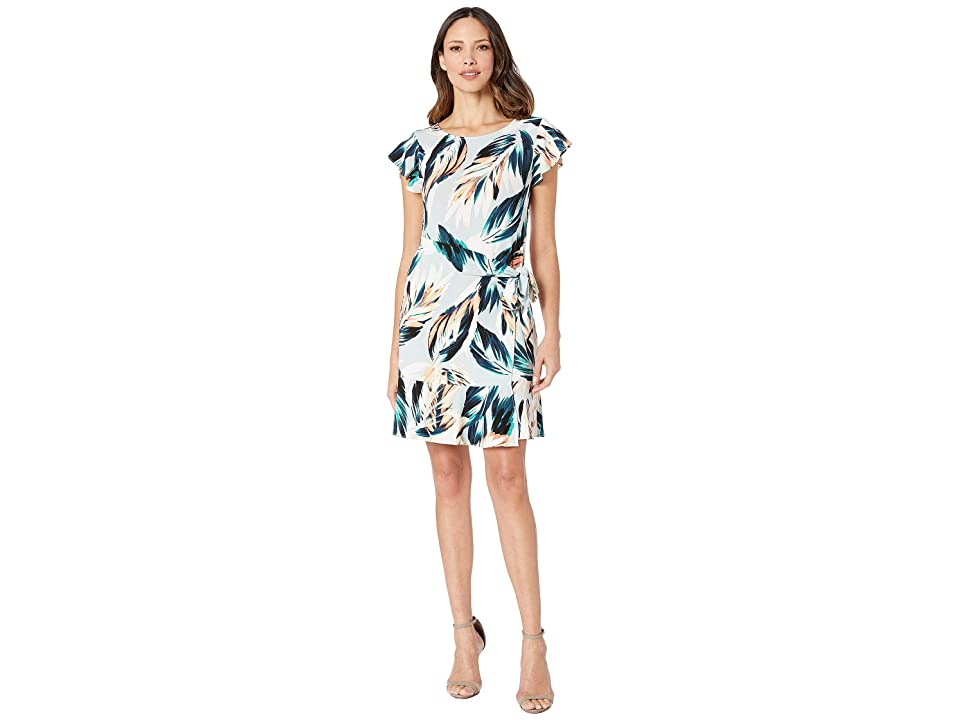 eci Flutter Sleeve Floral Printed Faux Wrap Dress (Grey) Women