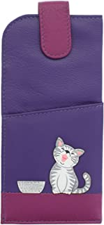 Mala Leather Collection Ziggy Étui à Lunettes en Cuir Souple et Mince 5117_99 Violet
