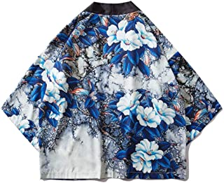 Chinese Style Cropped Sleeve Robe Couple Dress Floral Shirt Thin Coat Hyococ (Color : Color, Size : XXL)