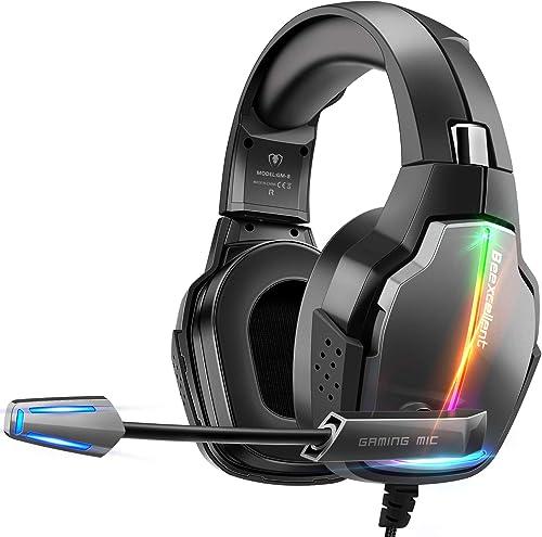 Casque Gaming PS4, Casque Gamer Pro Éclairage RGB avec 4 Mode Flash avec Microphone Flexible Repliable Audio Stéréo C...