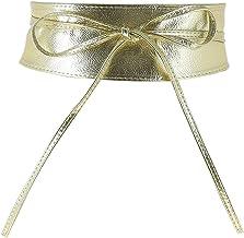 JTYR Women's Soft PU Faux Leather Self Tie Wrap Around OBI Waist Band Cinch Boho Belt Gold