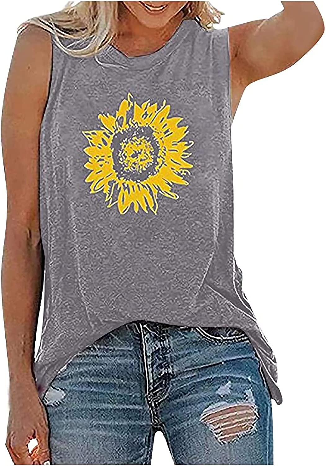 BUGI Womens Tank Tops Casual Loose Fit Plus Size Sunflower Printed Tee Shirts Sleeveless Tees for Women Casual Summer