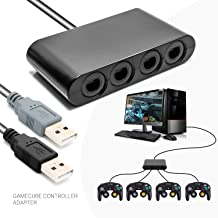 Switch Gamecube Controller Adapter, Retro Controller Hub for Nintendo Switch Wii U PC USB No Need Drivers Support Rumble Feature with 4 Slots and 2 USB Cable - 3ft