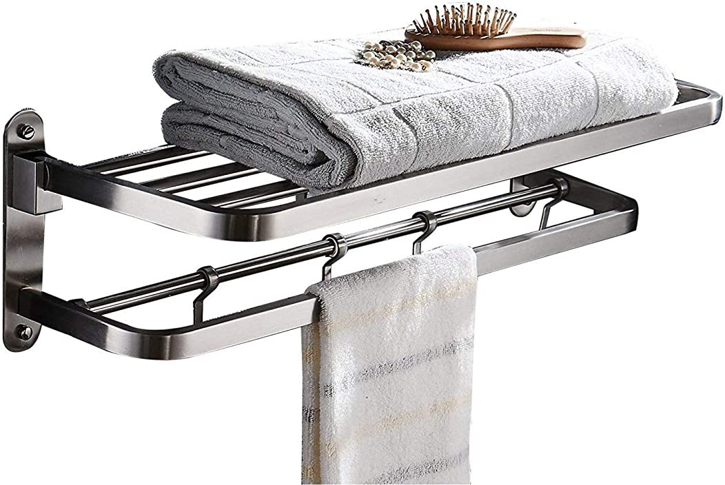 ELLO&ALLO for for Bathroom Shelf Double Towel Bar Holder with Hooks Wall Mounted Multifunctional Foldable Brushed Nickel,