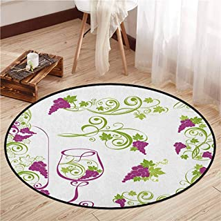 Pet Rugs,Wine,Wine Bottle and Glass Grapevines Lettering with Swirled Branches Lines,Super Absorbs Mud,3'7