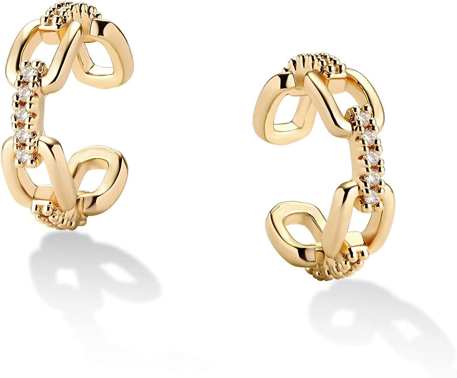 Valloey Rover 14K Gold Sales Plated Wide On Cartilag Earring Clip Seasonal Wrap Introduction Cuff