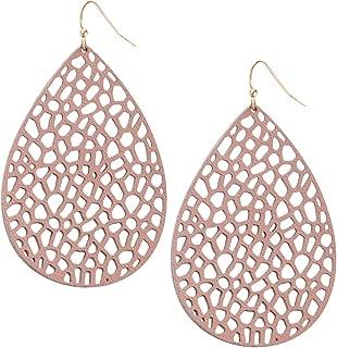 Humble Chic Vegan Leather Earrings for Women - Teardrop Leaf Dangle Statement Filigree Dangling Lightweight Boho Vintage-Style Drops
