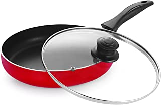 NIRLON Heavy Guage Non-Stick Cookware Fry Pan with Glass Lid, Red & Black (Aluminium, Stainless Steel, Bakelite)