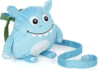 Nuby Plush Baby Backpack with Safety Harness, Blue Monster