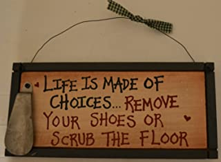 Wood Plaque Sign Decoration with a Metal Wire for Hanging 12 x 5 1/2 x 3/4 Inches. Wooden Sign Saying