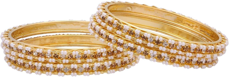 Efulgenz Indian Style Bollywood Traditional Gold Plated Faux Pearl Stone Wedding Bracelet Bangle Set Jewelry (4 Pc)