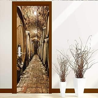 Tijakahome Art Decor 3D Door Wall Mural Wallpaper Stickers Rows of Oak Barrels in Underground Wine Cellar Door Wall Mural Wallpaper Stickers W31 x H79