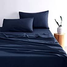 1000TC Ultra Soft Sheet Set - by Wake In Cloud, 100% Soft Microfiber, Fitted Sheet & Flat Sheet & 2 Pillowcases (Navy Blue...