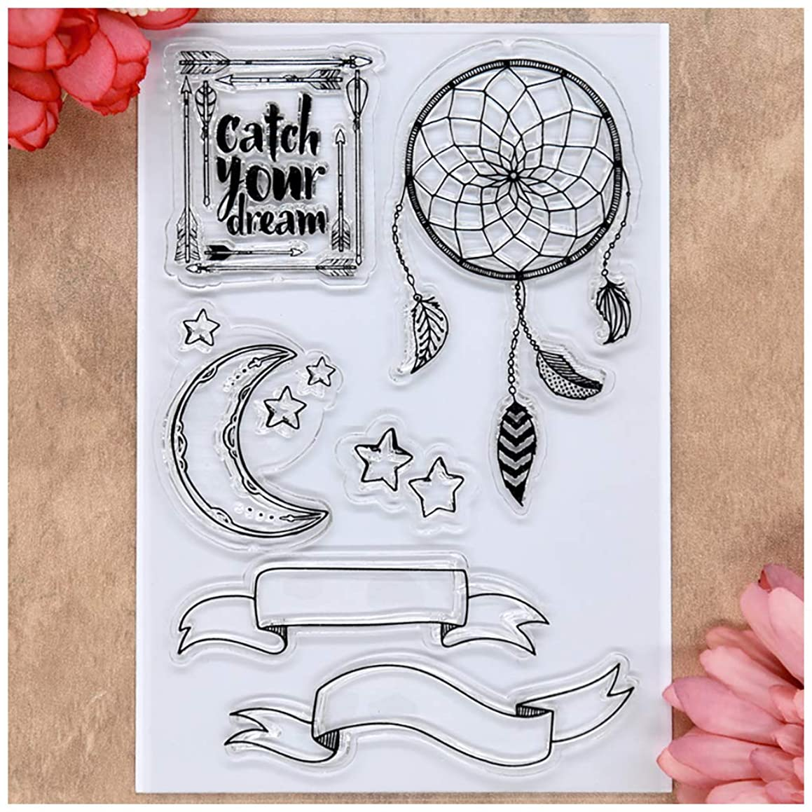 Kwan Crafts Catch your dream Moon Star Ribbon Wind Chimes Clear Stamps for Card Making Decoration and DIY Scrapbooking