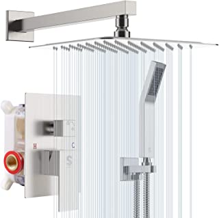 SR SUN RISE 12 Inches Bathroom Luxury Rain Mixer Shower Combo Set Wall Mounted Rainfall..