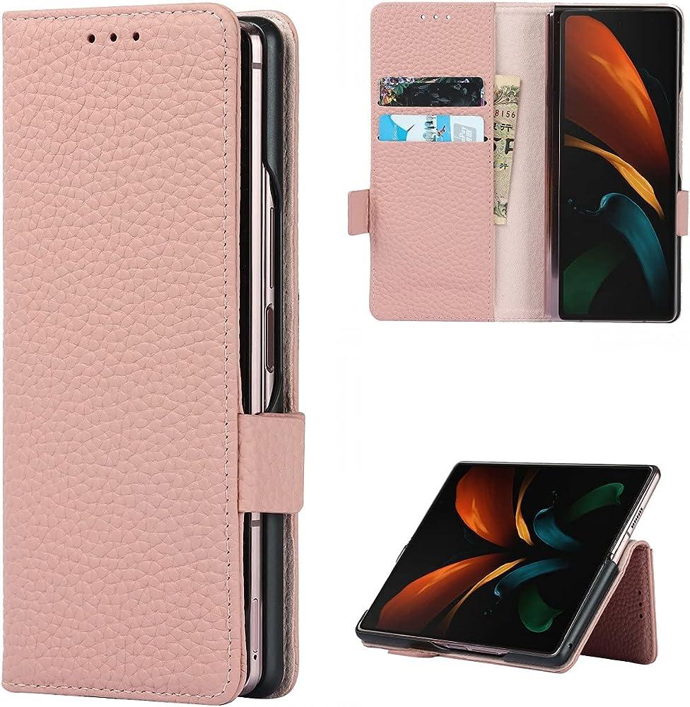 Copmob cover samsung galaxy z fold2 5g flip portafoglio porta carte di credito in pelle A - Rosa