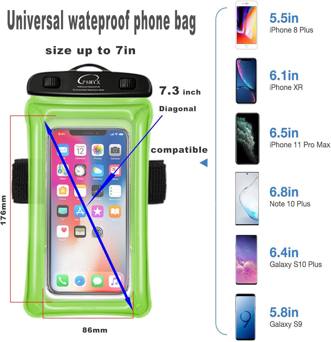 PSHYX Universal 100 Feet Waterproof Phone Bag Floating Case with Arm Band for iPhone 11 12 Pro Max XS XR X 8 7 6S Plus Samsung Google LG Phone up to 7 Inch (Pack of 2) (Black+White)
