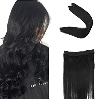 Full Shine 20 inch Real Remy Human Hair Extensions Jet Black Color #1 Double Weft Width 11 inch Fish Line Hairpieces 100g per set Halo Extensions