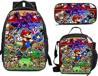 Su-Per Ma-Rio - Juego de mochila escolar con bolsa de almuerzo y estuche ligero para viajes, para niños y niñas