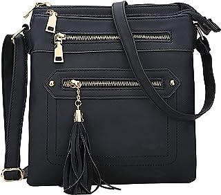 KKXIU Crossbody Handbags Purses Lightweight Medium Leather Multi Pockets Zipper Tassel Shoulder Bag For Women