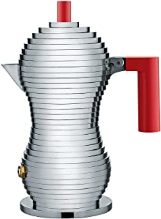 """Alessi MDL02/1 R""""Pulcina"""" 炉灶浓咖啡机 1 杯铝制铸造手柄和帕的旋钮,红色"""