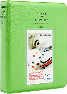Woodmin [Instax Mini Photo Album] 64 Pockets Polaroid Photo Album for 3 inch Pictures by Fujifilm Instax Mini 8 8+ Mini 9, Snap, Zip, Z2300, Bank Card (Deep Green)