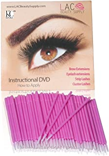 Lashes and Cosmetics Eyelash Extensions Disposable Micro Brushes 100 Pack With How To Apply Eyelash and EyeBrow Extension DVD