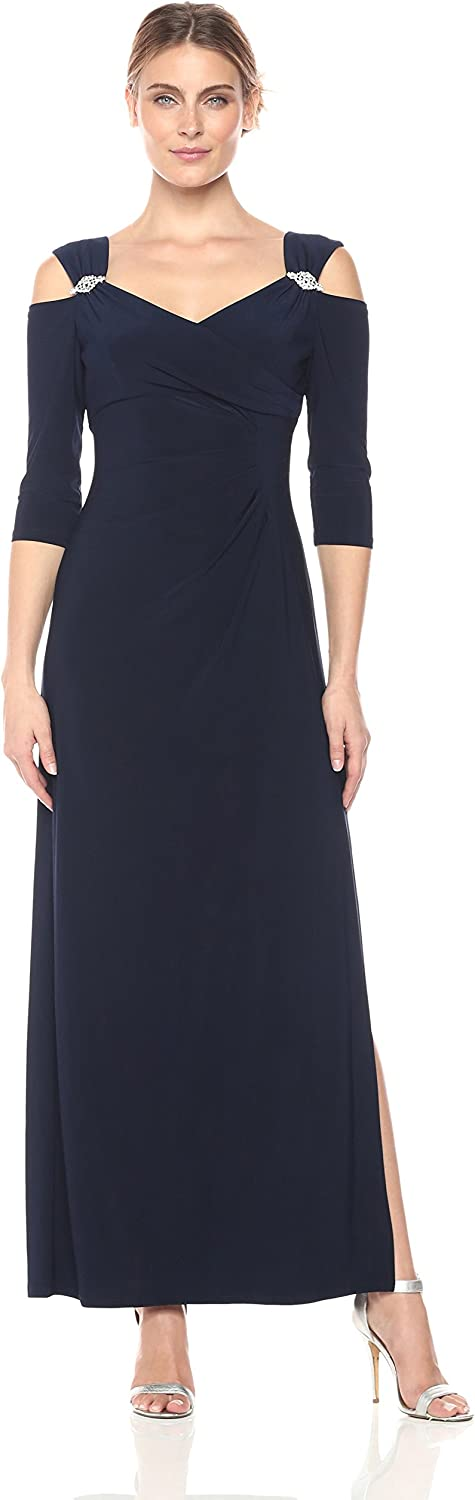 R&M Richards Womens Empire Waist Cold Shoulder with Sleeves Missy Special Occasion Dress