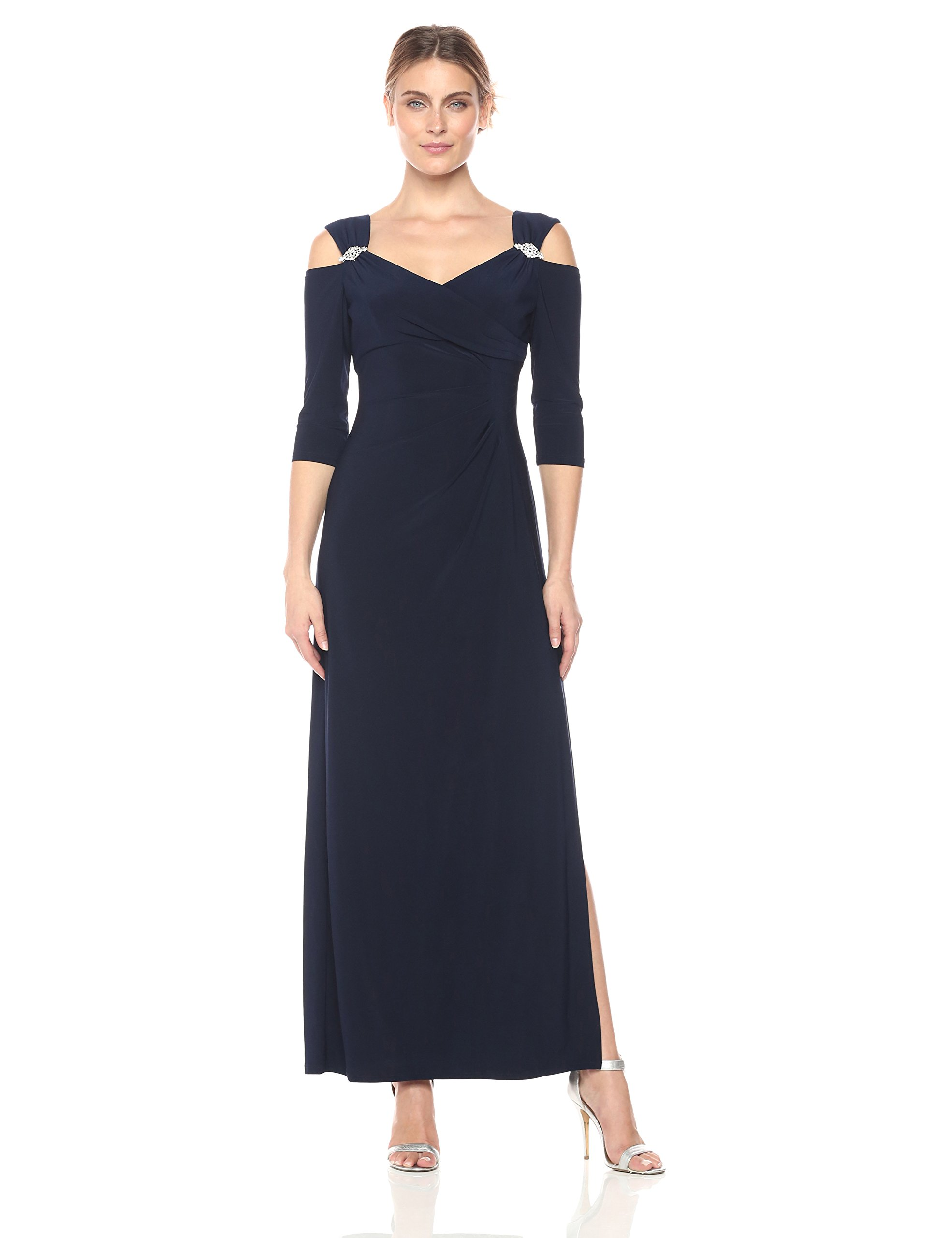 Mother Of The Bride Dresses - Women's Empire Waist Cold Shoulder With Sleeves Missy