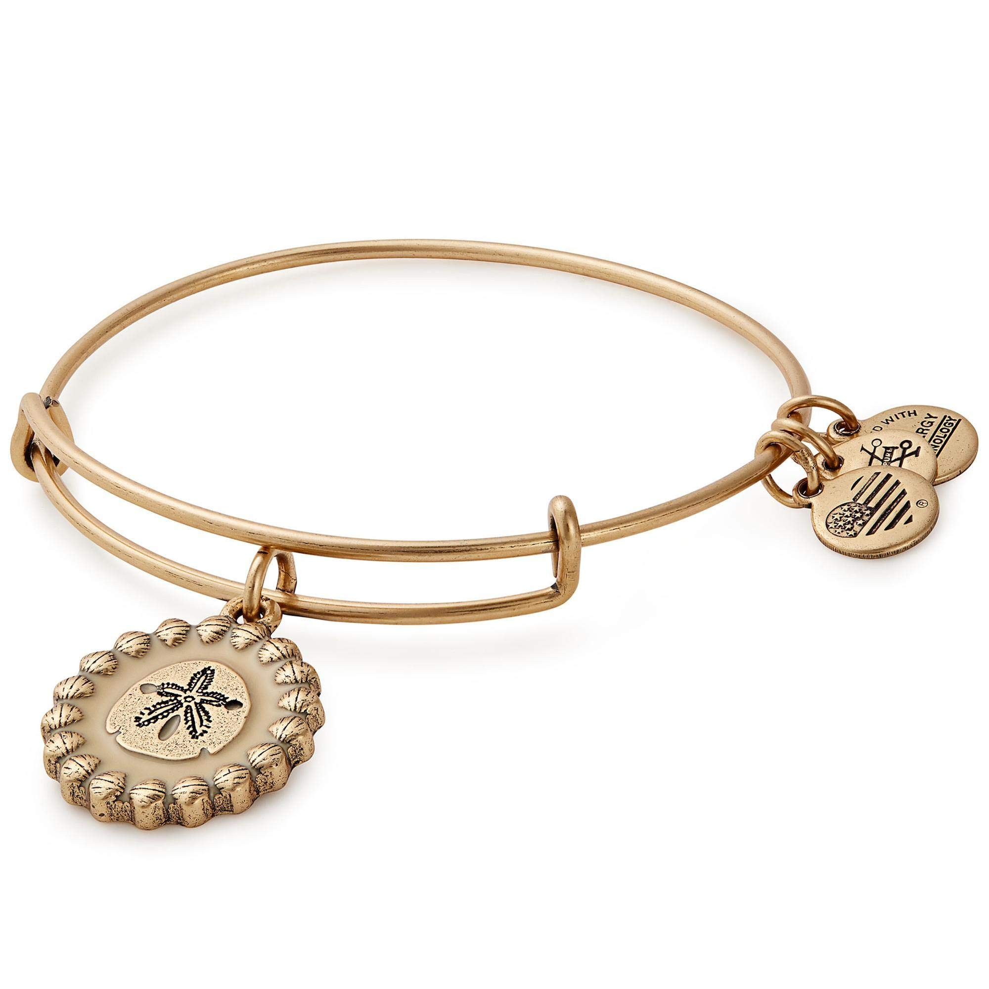 Women's Color Infusion Sand Dollar Charm Bangle Bracelet, Rafaelian Gold, Expandable
