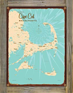 Cape Cod Massachusetts Vintage-Style Map Rustic Metal Print on Reclaimed Barn Wood by Lakebound (9