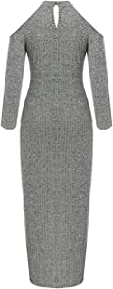 mebake Women Knitted Dress Long Sleeve Tied up Split Bodycon Halter Long Mermaid Dresses