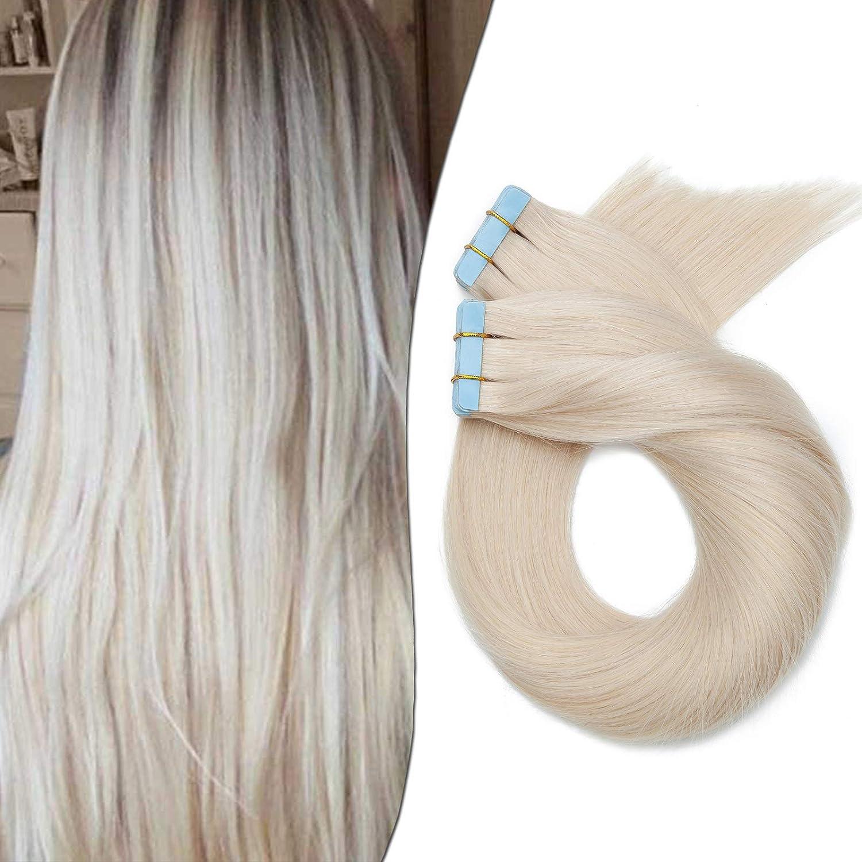 Elailite Extensiones Adhesivas Pelo Natural sin Clip 20 Mechas Lisas Largas Cabello Humano con Tape 60cm 50g #70 Blanco Muy Claro