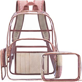 NiceEbag Clear Backpack for School Transparent PVC Backpack with Small Bag Stadium Approved Clear Bookbag See Through Trav...