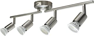 Lámpara de Techo con 4 focos LED GU10,5.5W Bombillas LED GU10,600LM,Luz Blanca Cálida 3000K,No Regulable,Focos Ajustables y Giratorios para Interiores.