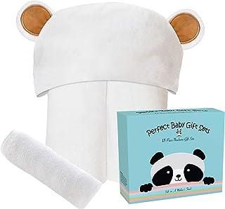 ست حوله ای و دستشویی بچه گانه بامبو مدل Ultra Soft Premium با طراحی منحصر به فرد - حوله های حمام دخترانه خرس حیوانات ضد حساسیت برای نوزاد و کودک نوپا - مناسب به عنوان هدیه دوش نوزاد - زرد