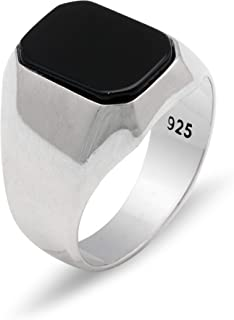 Chicotta Men's Sterling Silver Cocktail Ring with Rectangle Onyx Gemstone