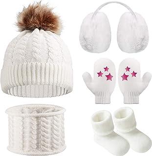 Gorro Bufanda de Invierno de Bebé Orejeras Mitones Calcetines de Niños Pequeños, Conjunto Caliente de Invierno de Bebé 5 Piezas
