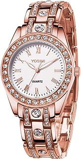 Montre de pour Femme imperméable - Bracelet en Quartz YOSIMI Style Bracelet en Chiffres Romains Cristaux Lumineux Aiguille...