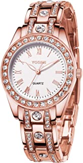 Woman Quartz Watch Waterproof - YOSIMI Rose Gold Wristwatch for Women Bracelet Luminous Hands