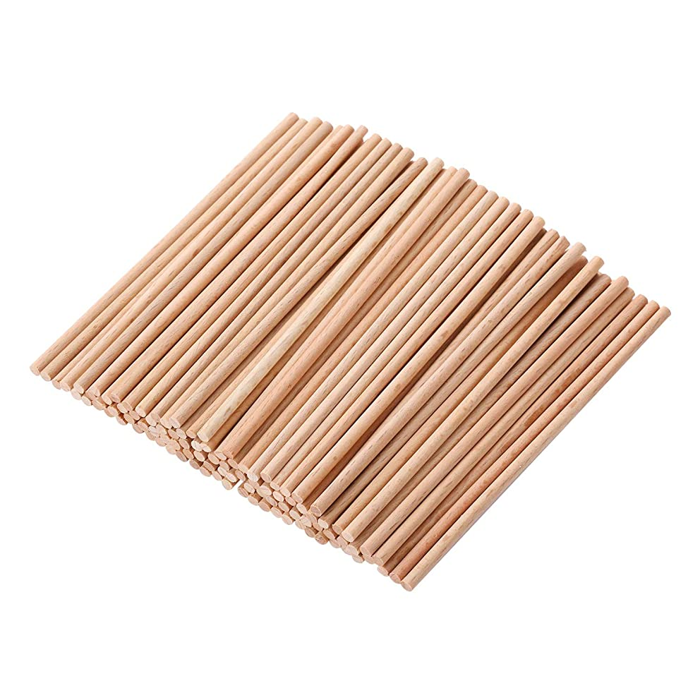 VABNEER Wood Craft Dowel Rods Unfinished Natural Wood Craft Sticks for Kids Craft Projects, Model Building and Other DIY Parties 100 Pack (100 x 3mm)