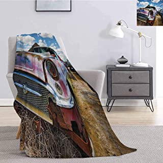 jecycleus Vintage Comfortable Large Blanket Abandoned Vintage Cars Rusting in a Ghost Town Cloudy Sky Digital Image Microfiber Blanket Bed Sofa or Travel W80 by L60 Inch Pale Coffee and Blue