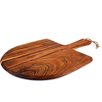 """Kaizen Casa Acacia Wood Pizza Peel, Cheese Paddle Board, Bread & Crackers Platter, for Serving & Minor Food Prepare, with Handle (10""""x10""""x6"""")"""