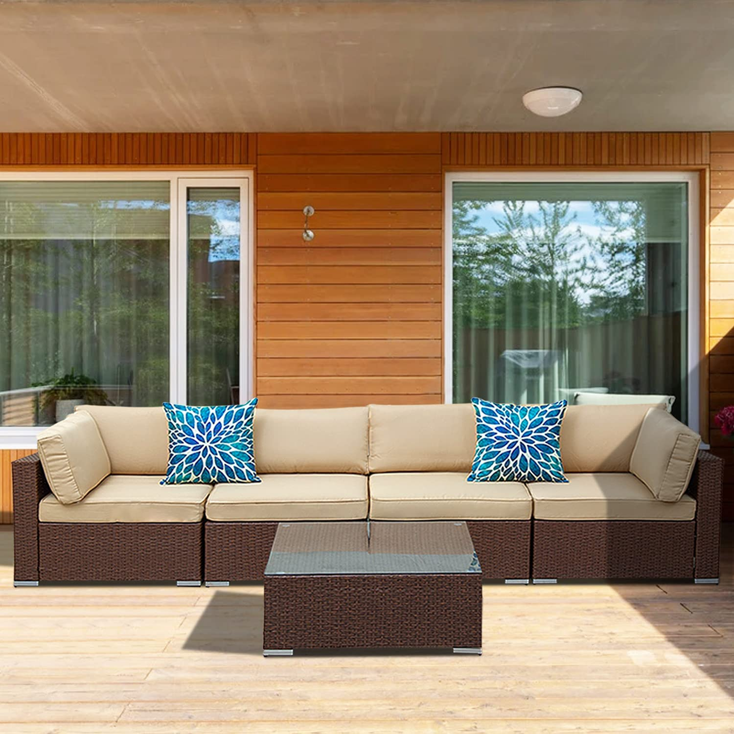 Auzfy 5 Piece Outdoor Patio store Sets Atlanta Mall Furniture Sectional Sof