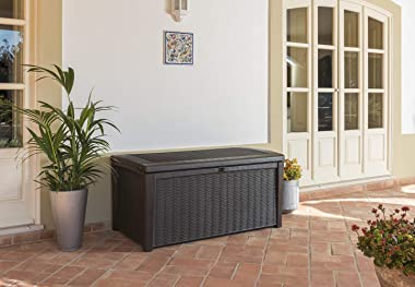 Keter Borneo 110 Gallon Resin Deck Box-Organization and Storage for Patio Furniture Outdoor Cushions, Throw Pillows, Garden T