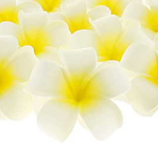 Juvale 60-Pack Hawaiian Plumeria Rubra Artificial Foam Flowers for Crafts and Wedding Decorations, 2.5 Inches