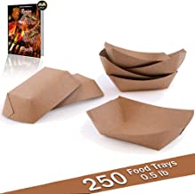 PaperMi Brown Paper Food Tray - USA Made FDA Approved 1/2lb Disposable Kraft Hot Dog Tray, Paper Food Trays for Picnics, Carnivals, Camping - Food Serving Tray Holds Hot and Cold Food - (250pcs)