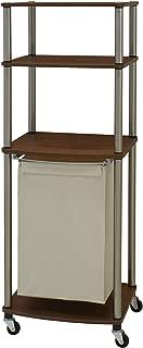 Household Essentials Laundry Organizer with Single Canvas Hamper, Walnut